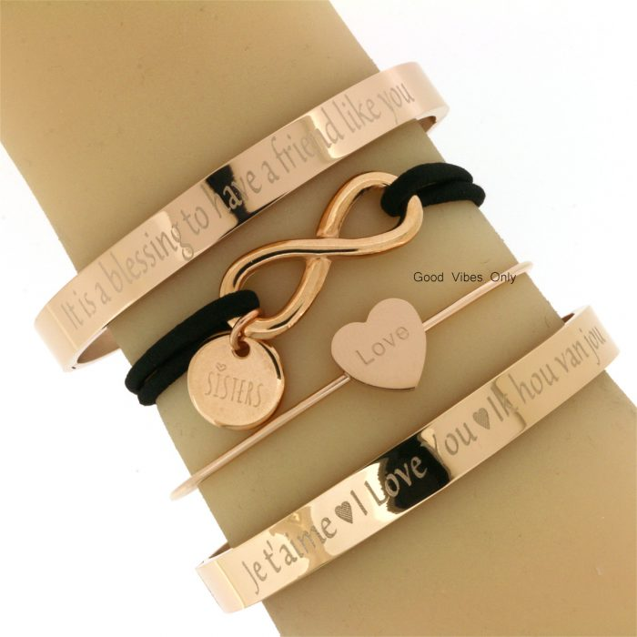 eigen tekst quote armband staal zussen armband bff armband