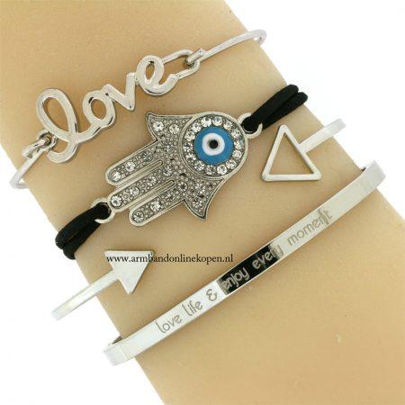 hamsa-hand-armband-zwart-zilver-geluks-armband
