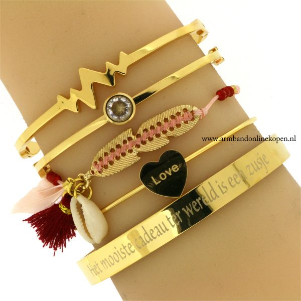 inspirerende quotes zussen armband staal