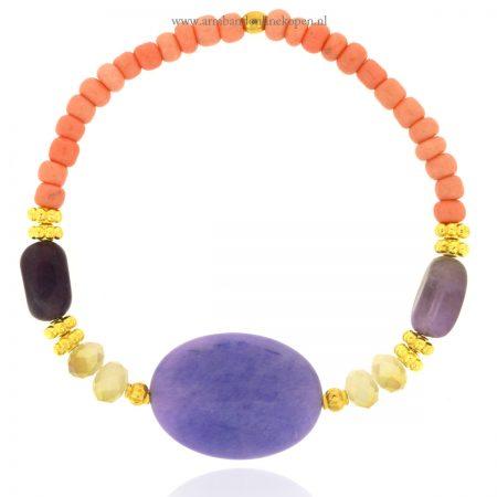 kralen-armband-zalmroze-met-natuur-steen