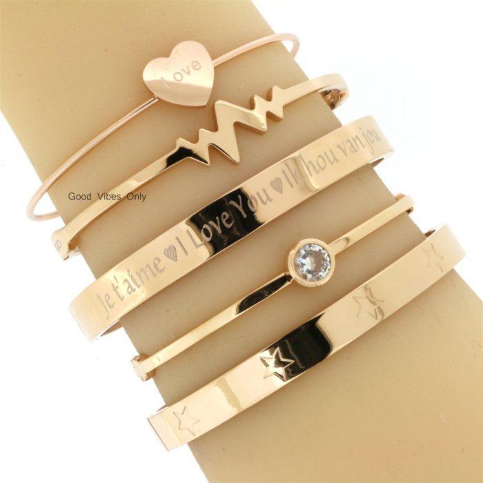 persoonlijke tekst armbanden ik hou van jou staal