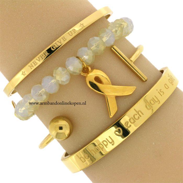 pink-ribbon-armband-goud-never-give-up-bangle-rvs