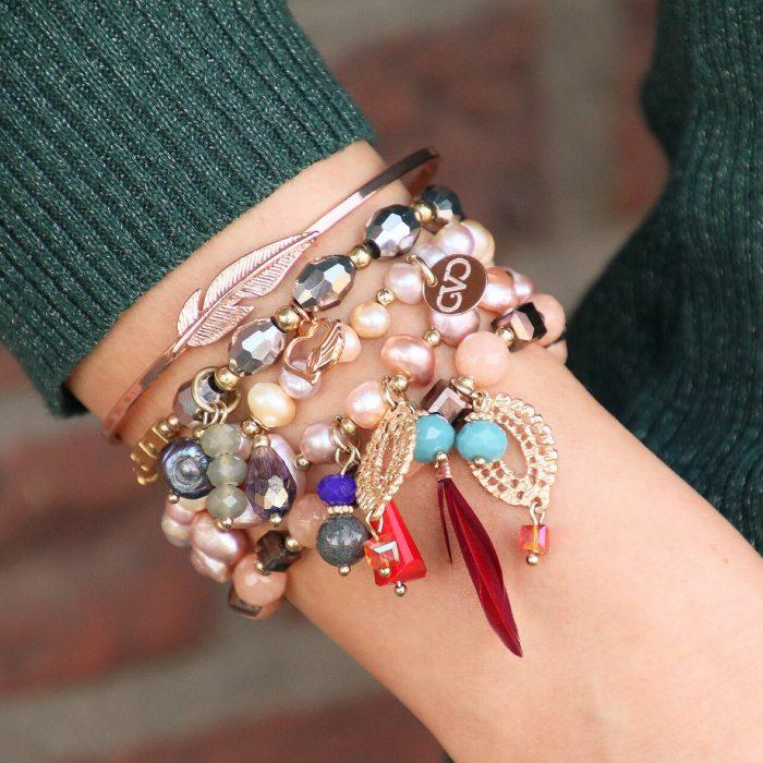 roze-goud-armbanden-set-mix