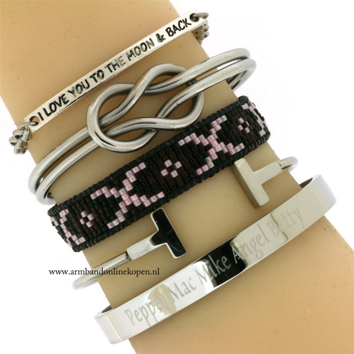 staal armband met eigen naam of eigen tekst
