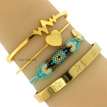 stalen-armbanden-good-vibes-only-goud-aqua