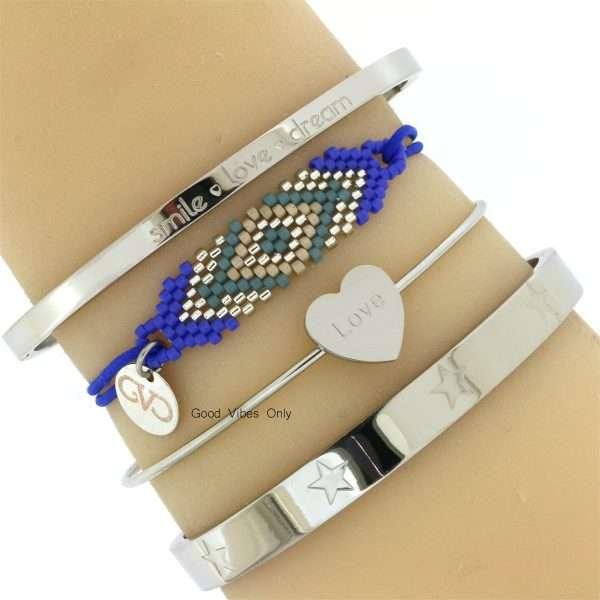 stalen-armbanden-zilver-armcandy-good-vibes-only