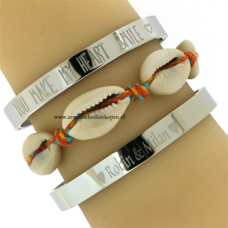 zilver stalen armband met naam graveren