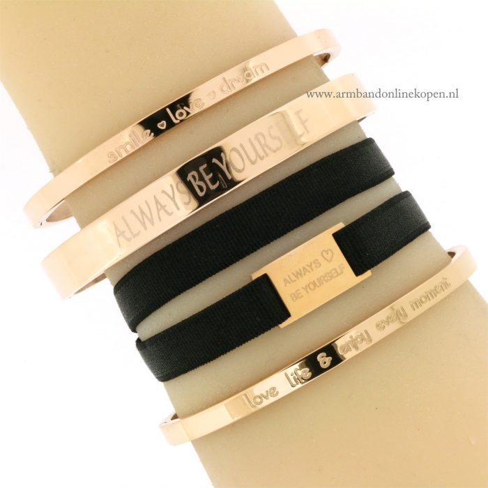 Choker en armband Always Be Yourself Rose Goud Staal