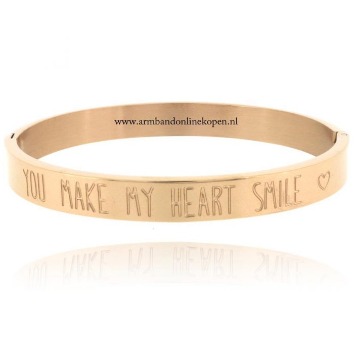 Quote Armband Staal Rose Goud You Make my Heart Smile