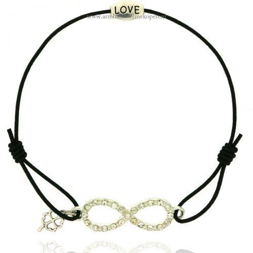armband-infinity-klavertje-vier-love-zilver-zwart