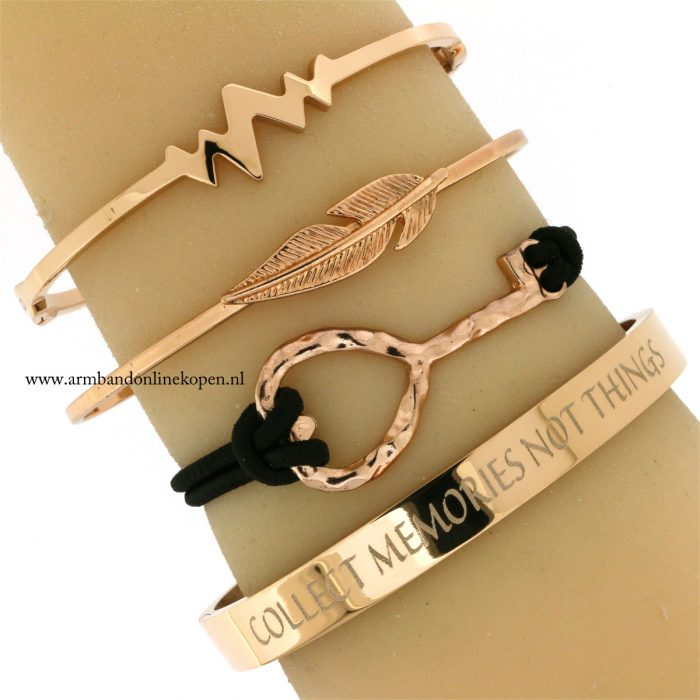 armband-quote-collect-memories-not-things-rose-goud