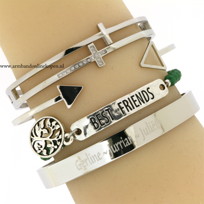 bff armbandje best friends for life naam armband staal