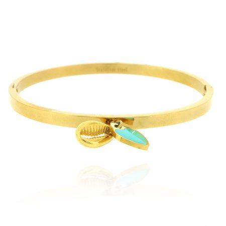 gouden-armband-staal-met-hartje-en-schelpje