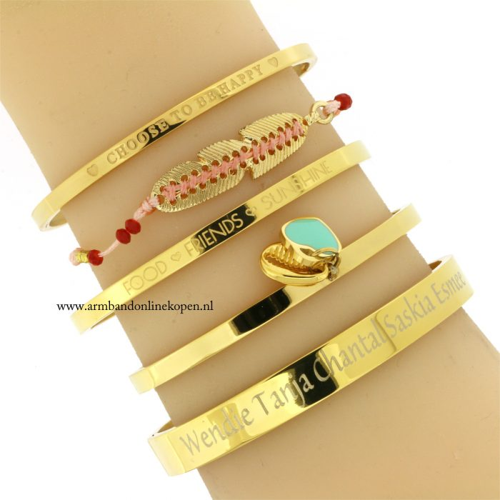 ibiza armband staal schelpje hartje quote bangles