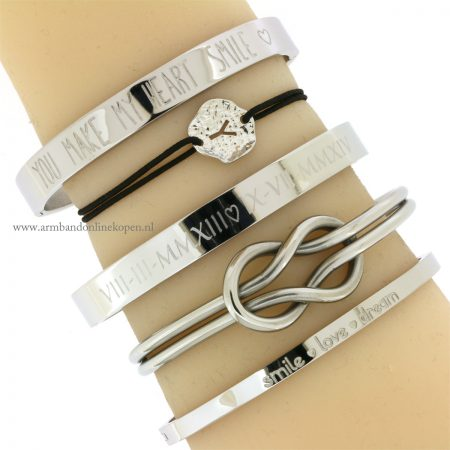 initiaal armband letter armbandje zilver zwart