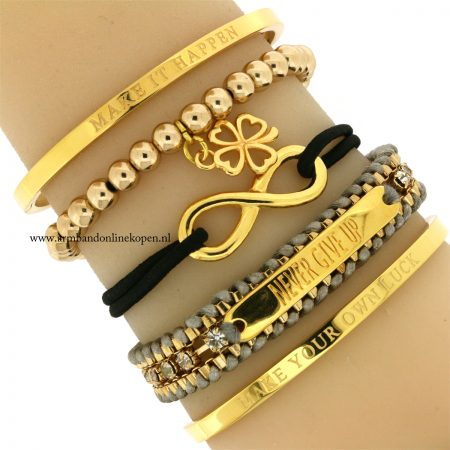 klavertje-vier-armband-goudkleurige-kralen