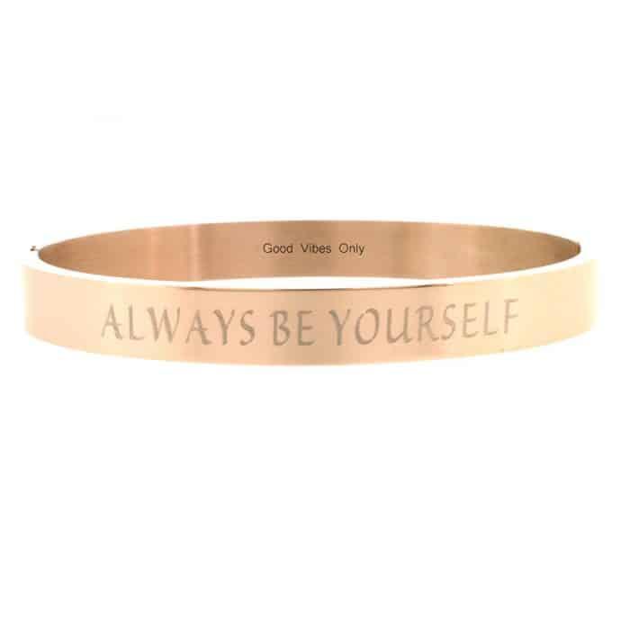 quote armbanden eigen tekst staal rose goud