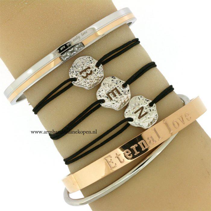 zilveren-armbandjes-initiaal-rose-goud-combi