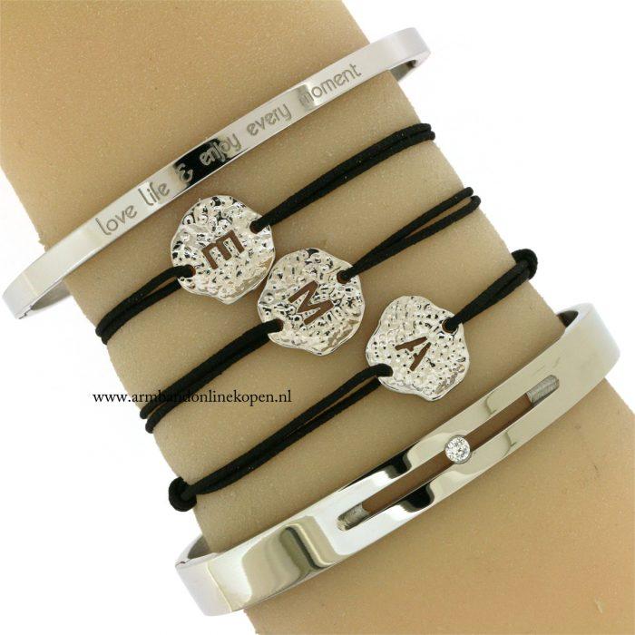zilver-staal-quote-bangles-initiaal-armbandjes