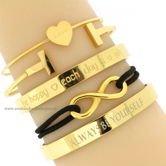 infinity armband goud zwart online kopen