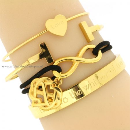 infinity armband hartjes love goud