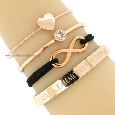 infinity armband roze goud zwart online kopen