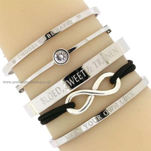 infinity armband zilver zwart online kopen