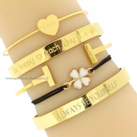 klavertje vier armband goud zwart online kopen