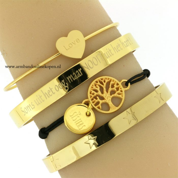 zussen armband levensboom quote armband staal eigen quote