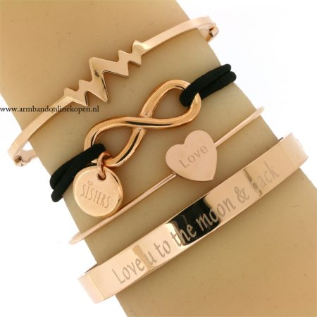 zussen armband rose goud love you to the moon and back
