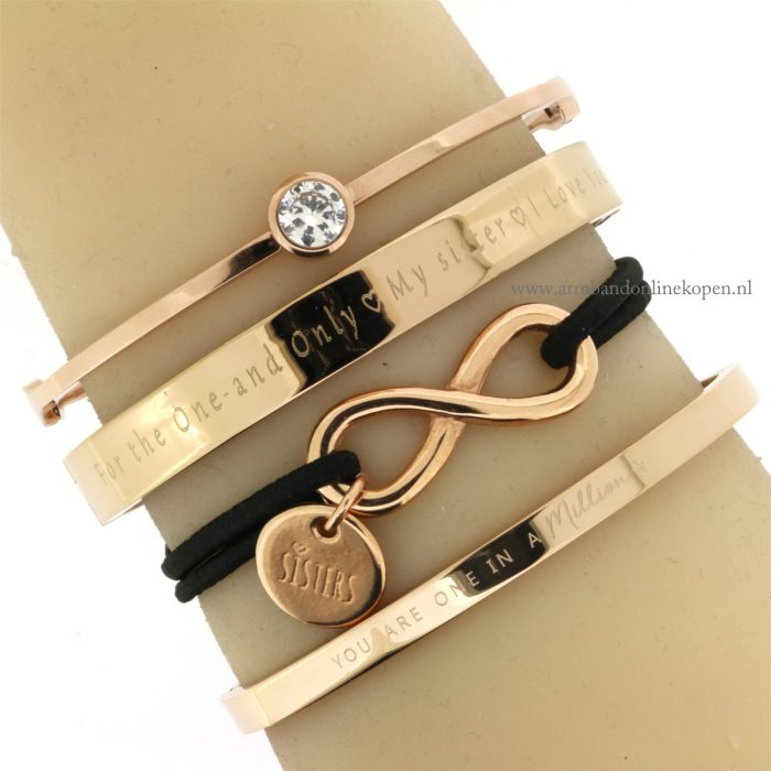 zussen armband rose goud one in a million