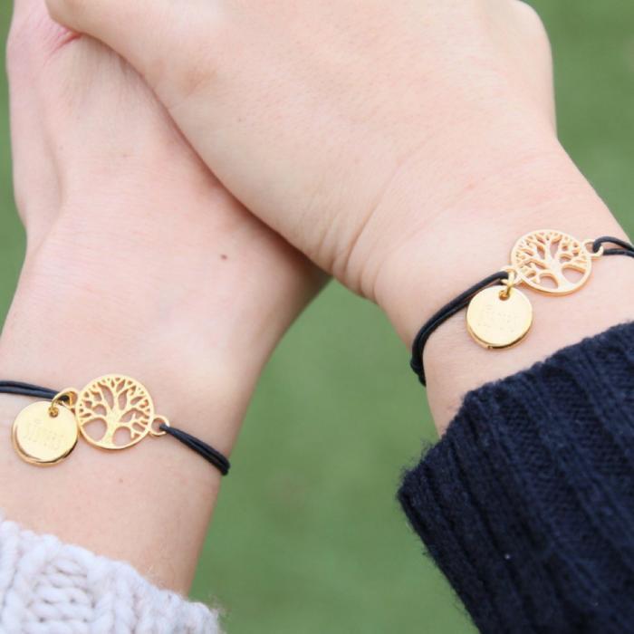 zussen armband sisters for life goud zwart