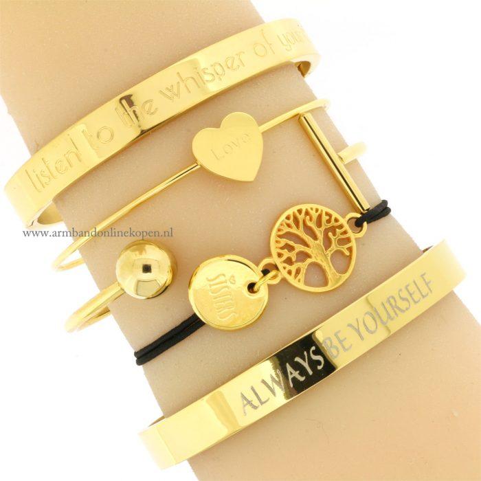 Sisters for Life Bracelet Gold