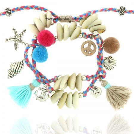 bohemian wrap enkelband schelpen en bedels