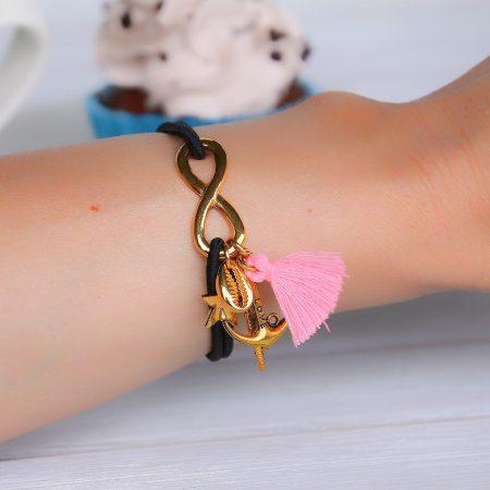 ibiza armband infinity schelp veer kwastje
