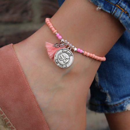 geluks enkelbandje zilver zacht roze online kopen