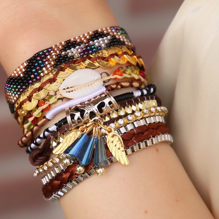 ibiza armband met schelp en goudkleurige details