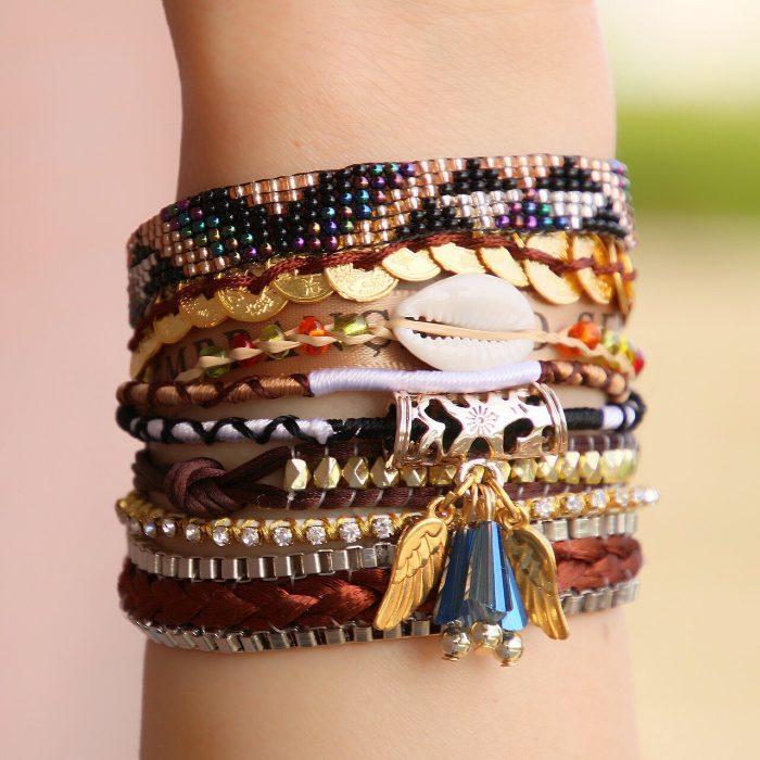 ibiza armband met schelp en goudkleurige engelvleugels