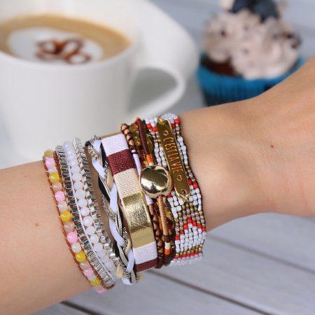 ibiza armbanden met quote tekstplaatje goud