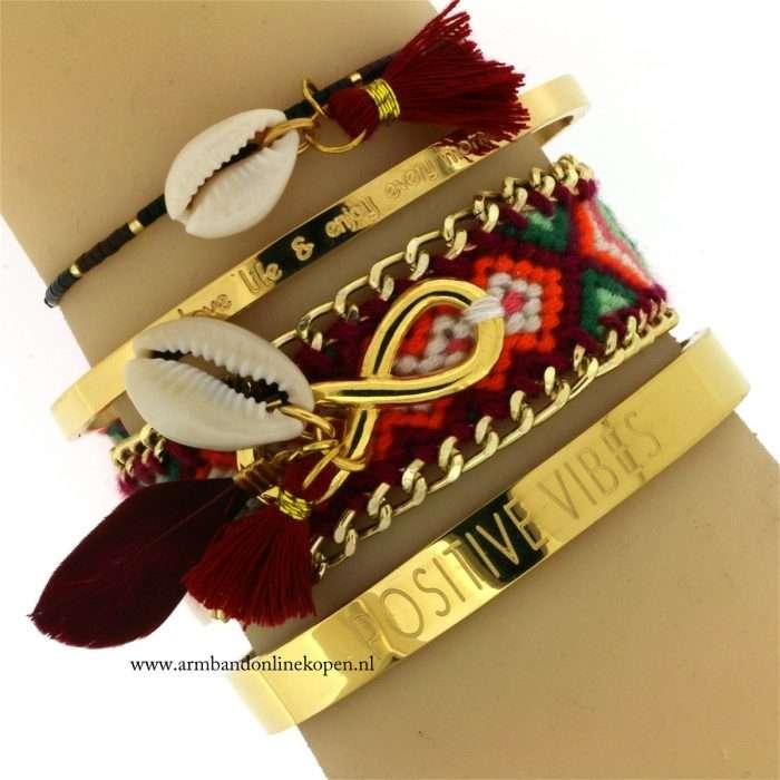 ibiza armbandjes met schelp en kwastjes goud online kopen