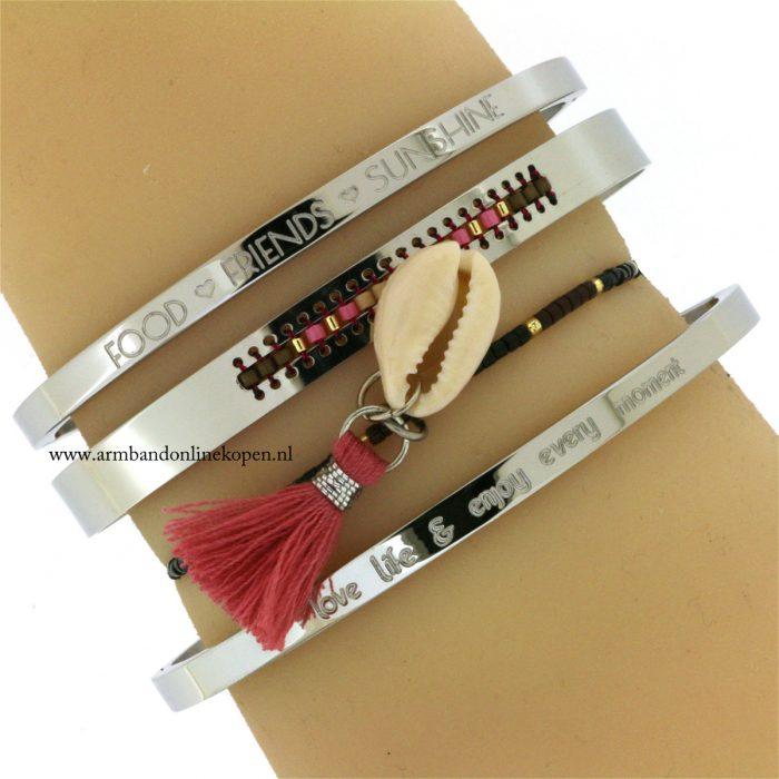 ibiza armbandjes met schelp en kwastjes zilver online kopen