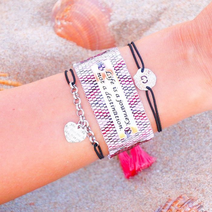 quote armband life is a journey tekstplaatje
