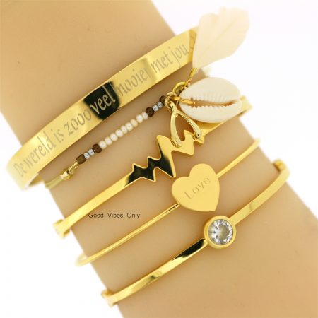subtiele ibiza armbandje met schelp good vibes only