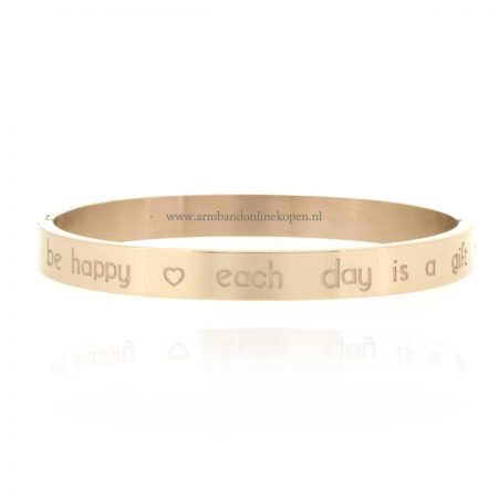 Quote Armband Be Happy Each Day is a Gift staal rose goud