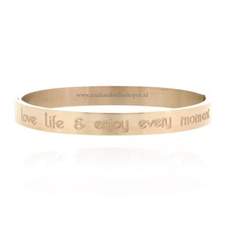 Quote Armband Love Life and Enjoy Every Moment staal rose goud