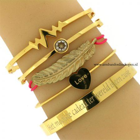 hippe armbandje met veer goud fuchsia