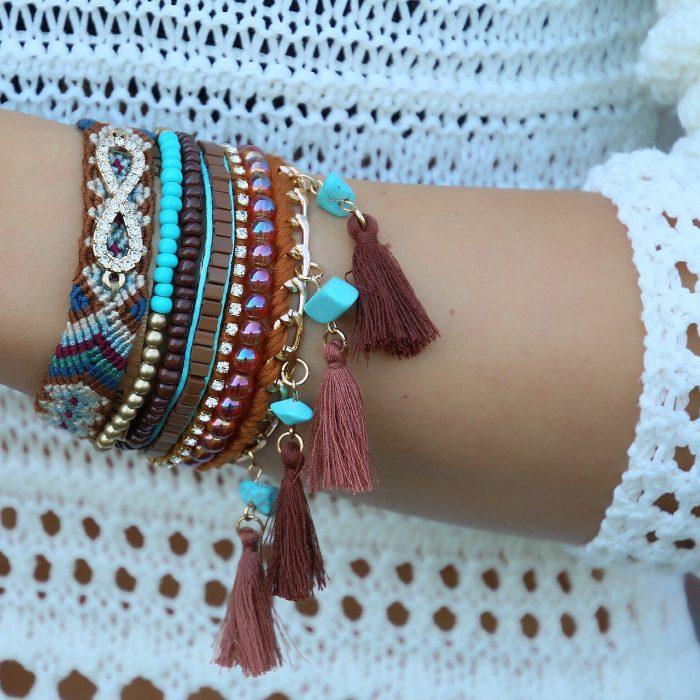 ibiza armbanden bruine tinten infinity symbool