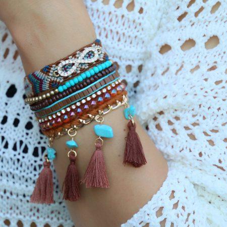 ibiza armbanden bruine tinten met kwastjes