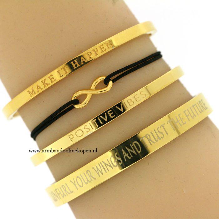 infinity armbandje zwart goud goedkoop kopen