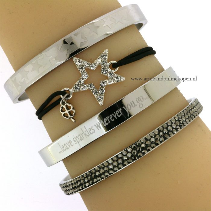 quote armband staal leave sparkles wherever you go